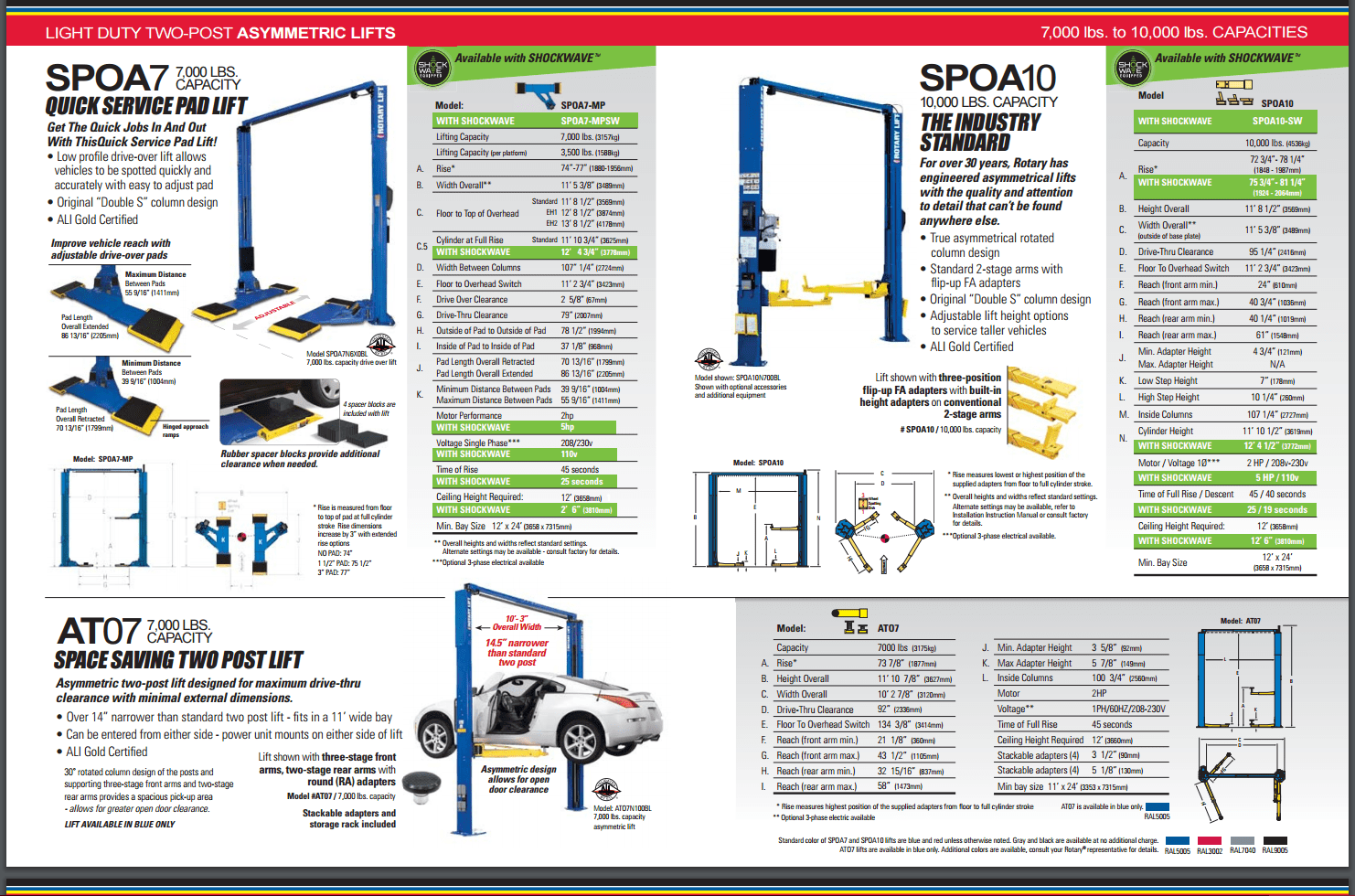 spoa7-at07-spoa10-rotary-lift-shockwave-10000lbs-guide-rotary-shockwave-revolution-2post-lift-4post-lift-repair-service-installation-fast-women-harley-motocycle-lift-equipment-800-225-7234